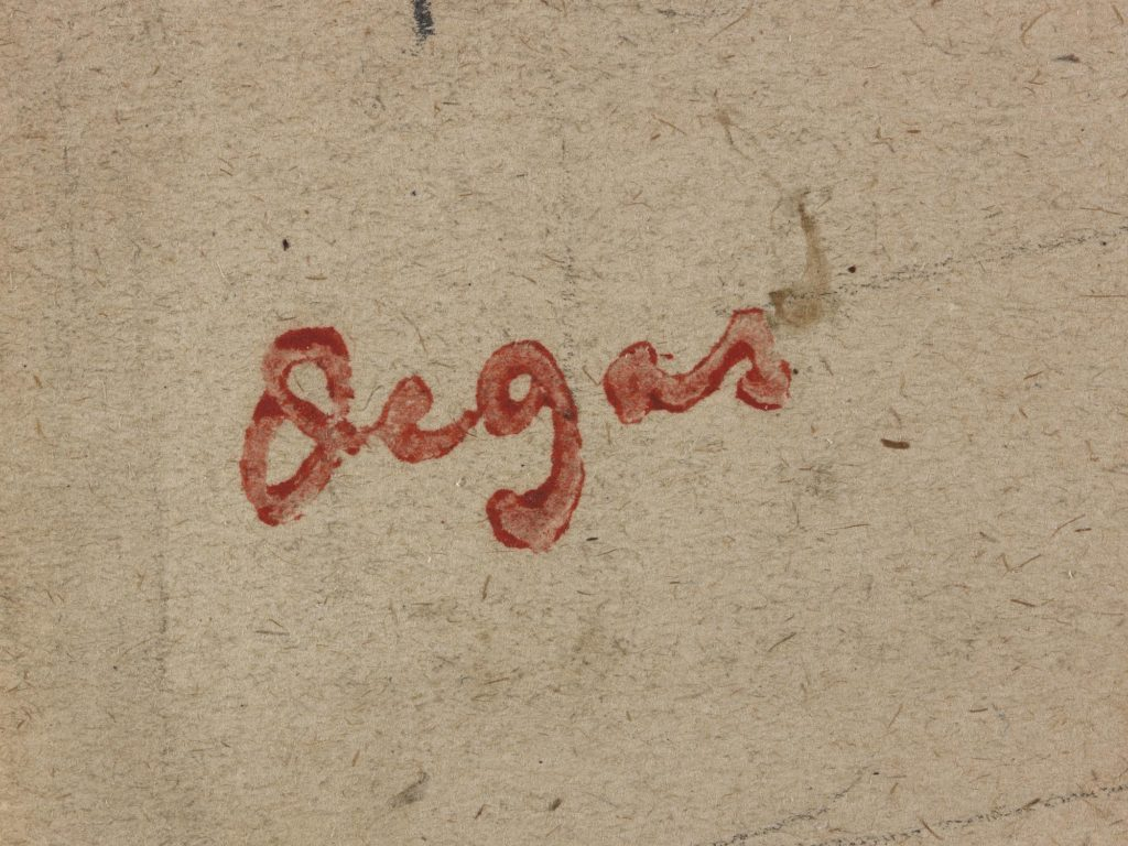 A Degas signature in red ink