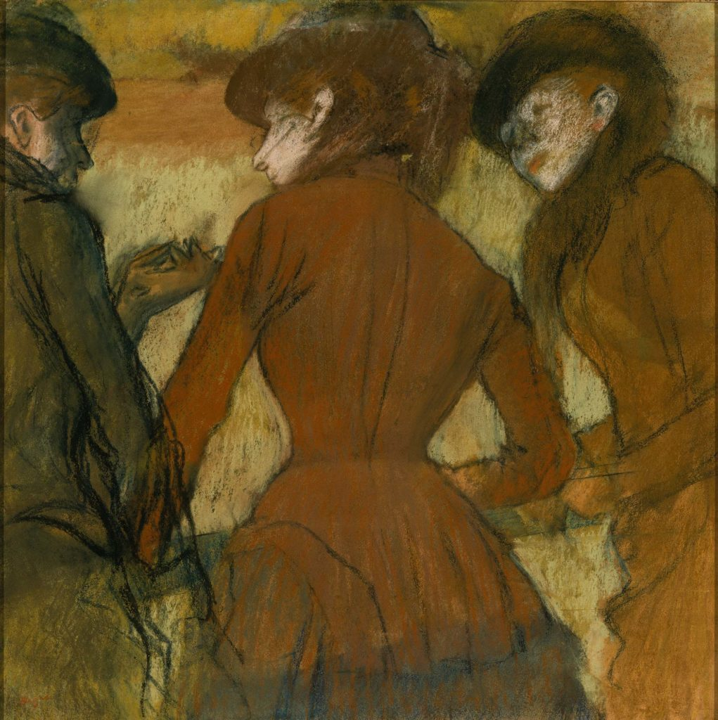 a degas charcoal of three ladies seen from the rear