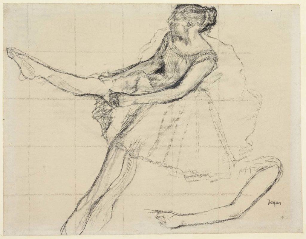 A Degas charcoal sketch of a young dancer pulling up her tights