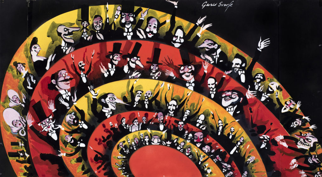 illustration of crows in seats at theatre show in red, orange, yellow and black