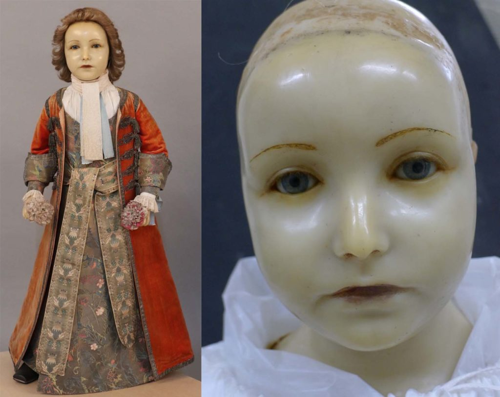 A side by side photo of a wax effigy of a young boy and a close up of the wax head of the same