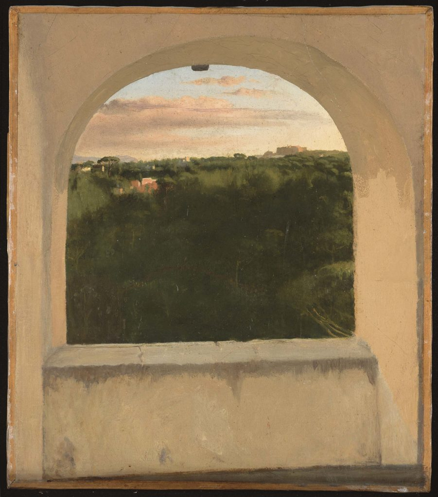 a landscape by Degas with verdant green in the foreground seen through an archway
