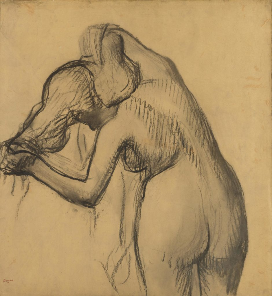 A Degas sketch of a nude woman holding her long hair to one side as she leans and washes her neck