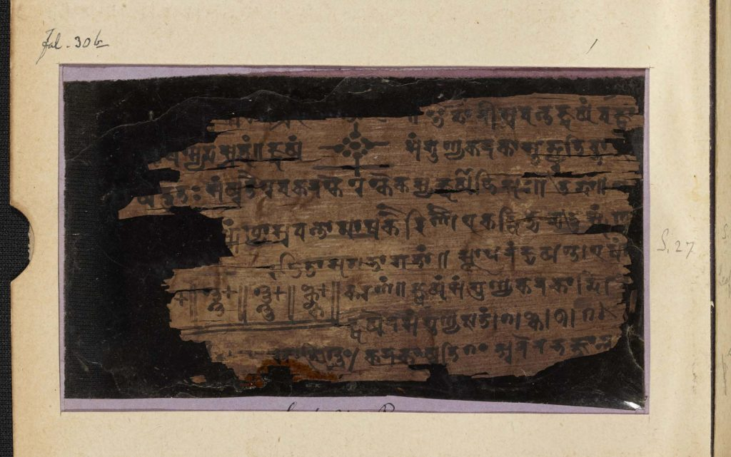 a cloe up of a mansucript with ancient Indian writing on it