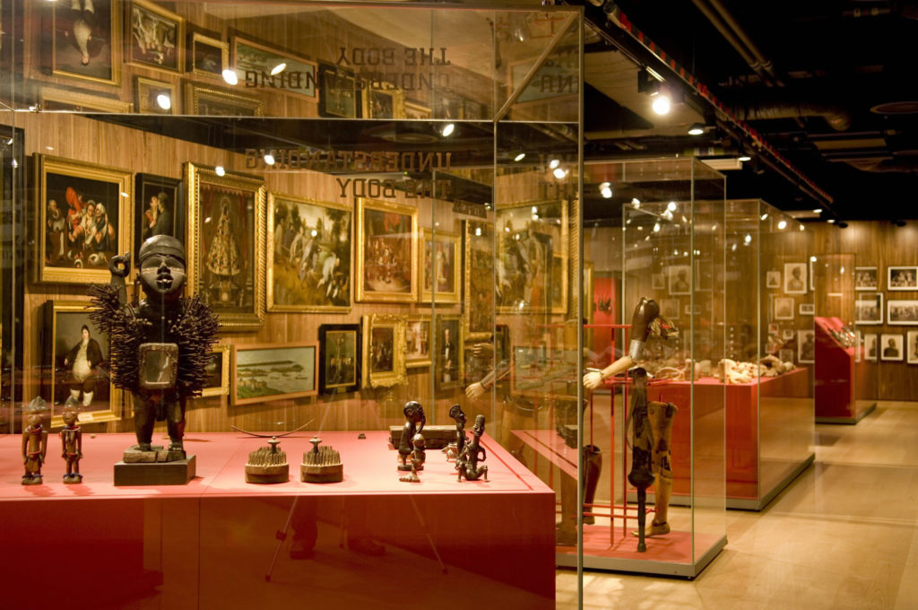 photograph of museum gallery with large collection of medical objects and art