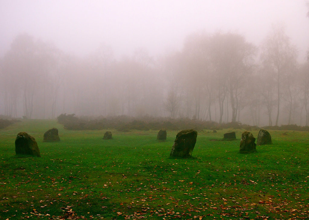 photograph of stone circle on misty moor