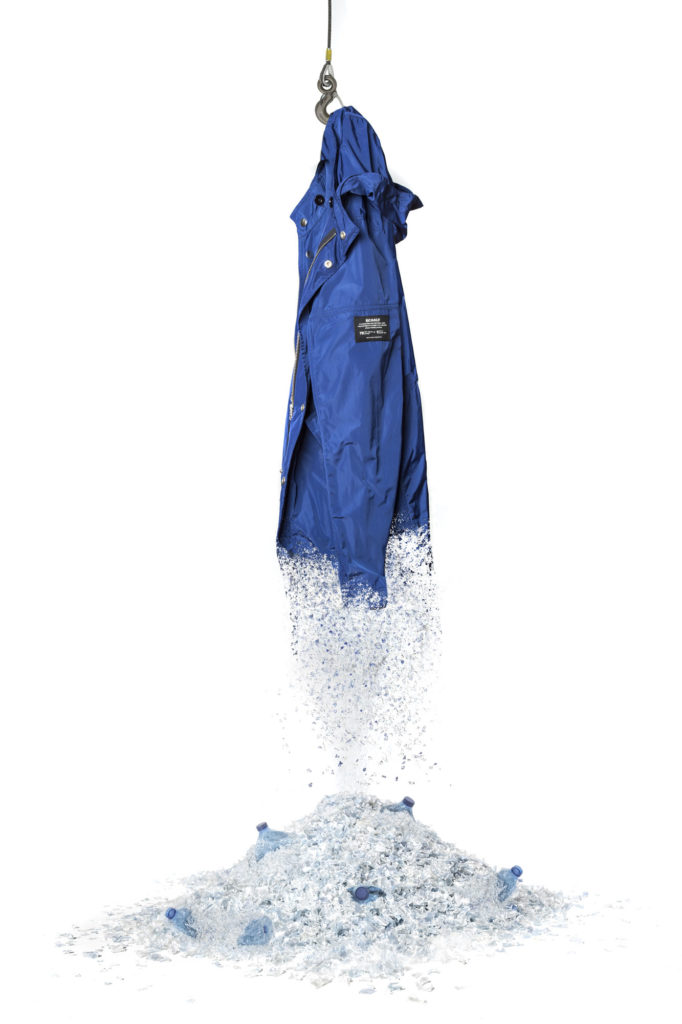 pormo image of blue jacket created from marine waste dissolving into broken plastic bottles