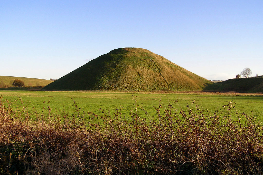photograph of large domed man-made hill