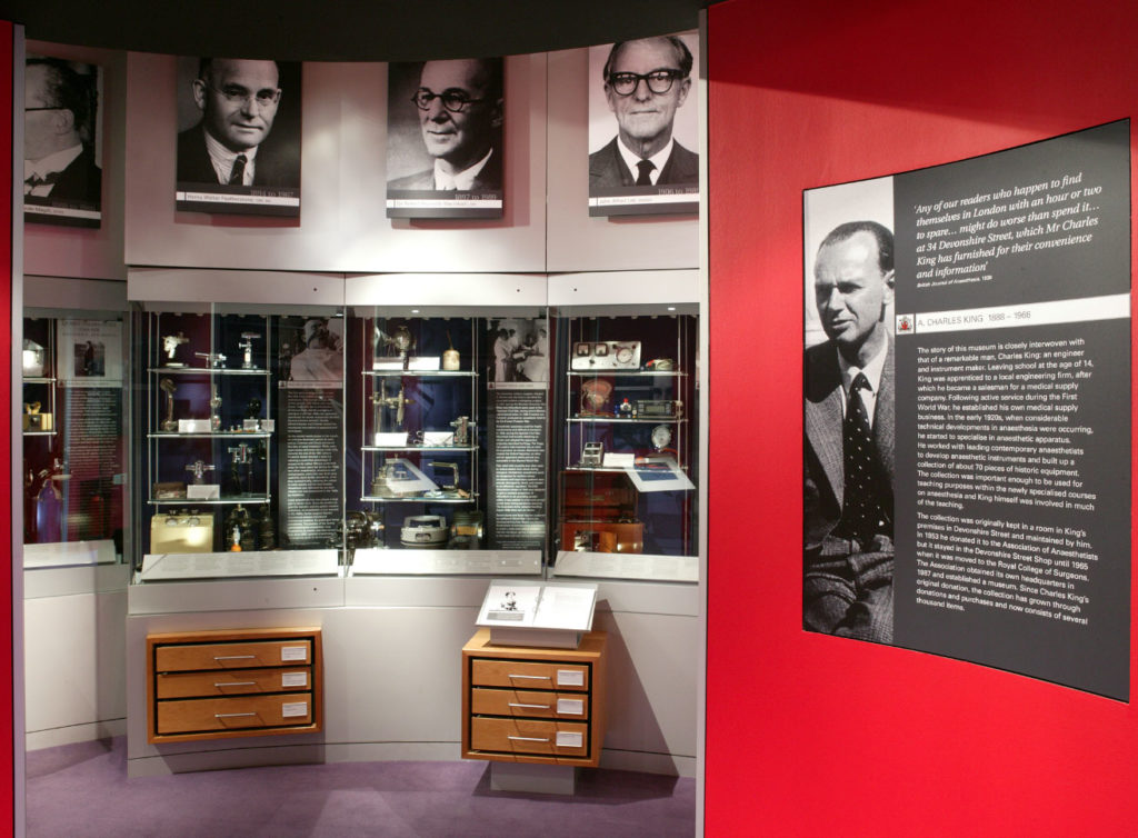 photograph of the interior of museum showing displays about anaesthesia