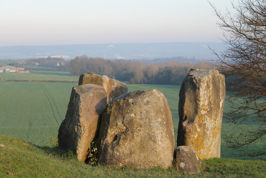 photograph of group of standing stones, on a hill overlooking trees and fields