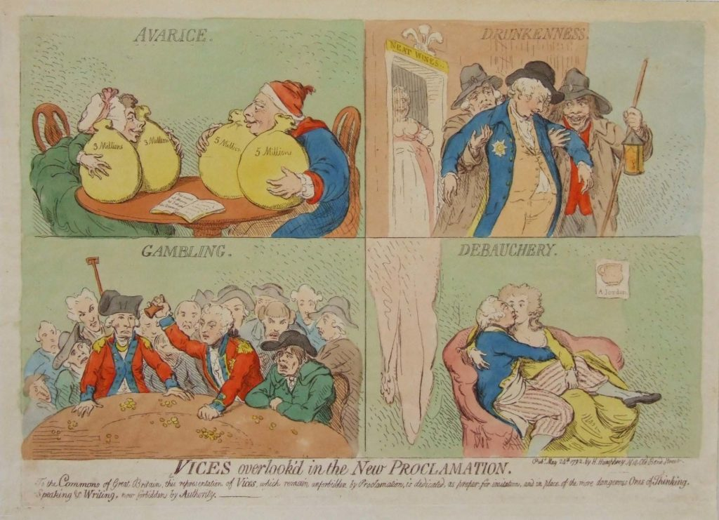 a series of four Georgian caricatures in cartoon strip form
