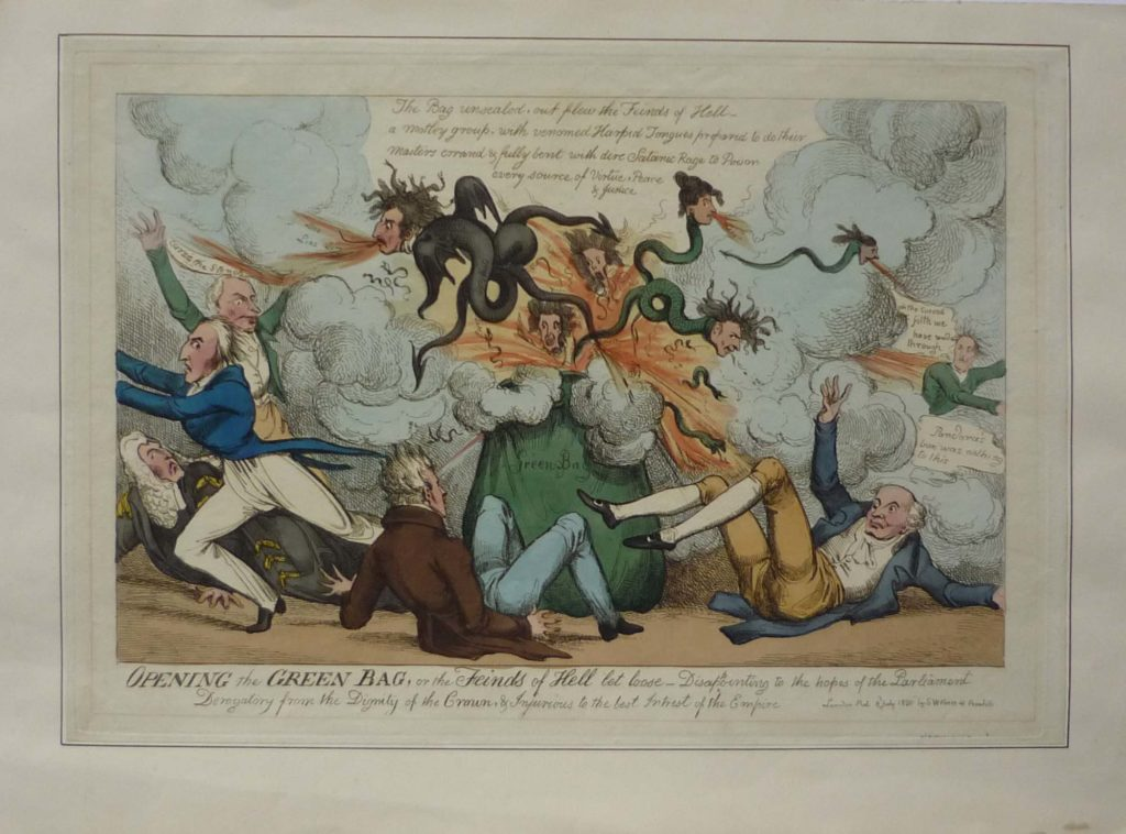 a Georgian caricature of showing a green bag exploding with serpents with the heads of people
