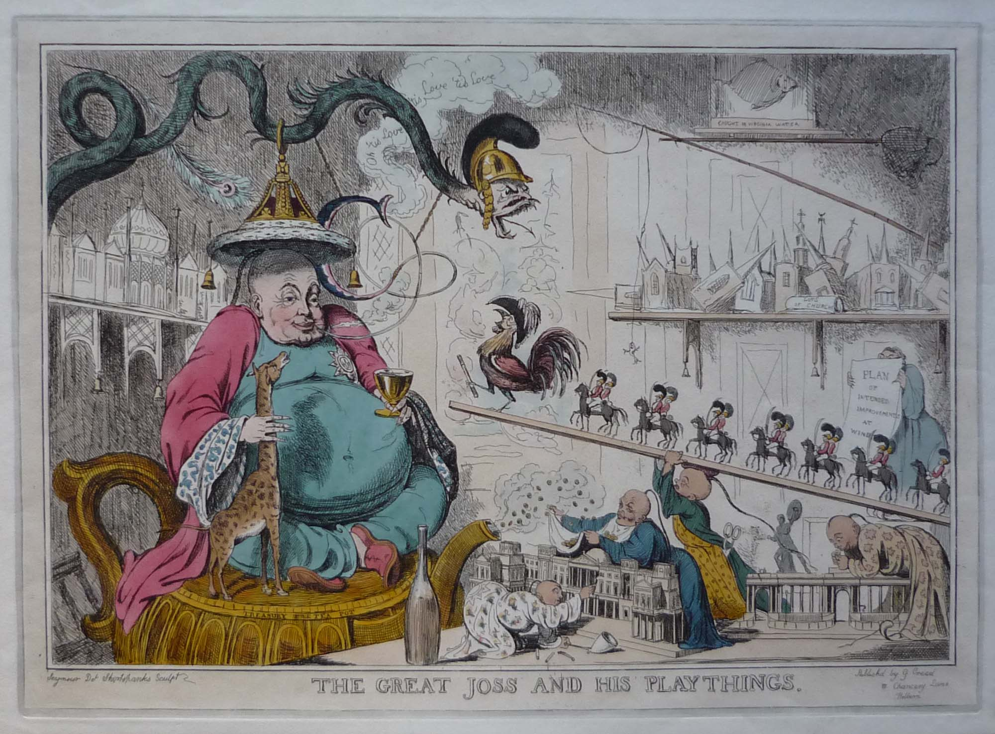 a caricature of a man seated on a cushion smoking an opium pipe