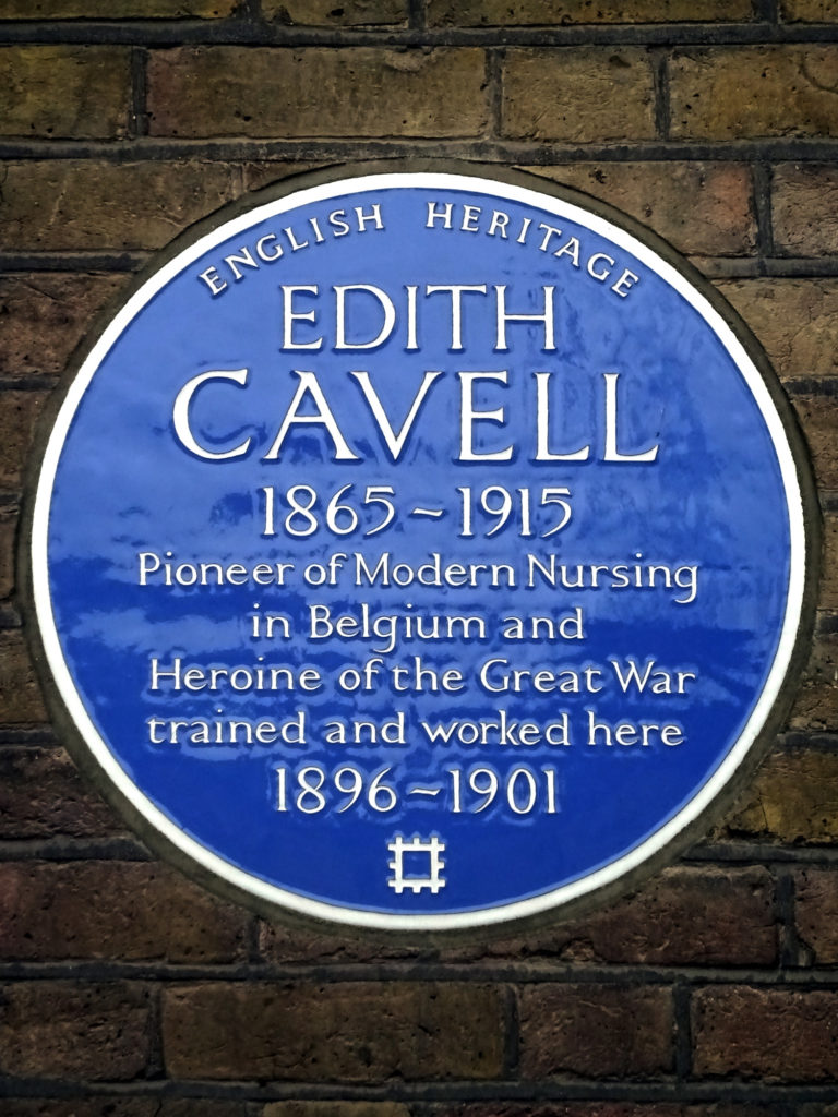 photograph of a blue plaque to nurse Edith Cavell outside the Royal London Hospital