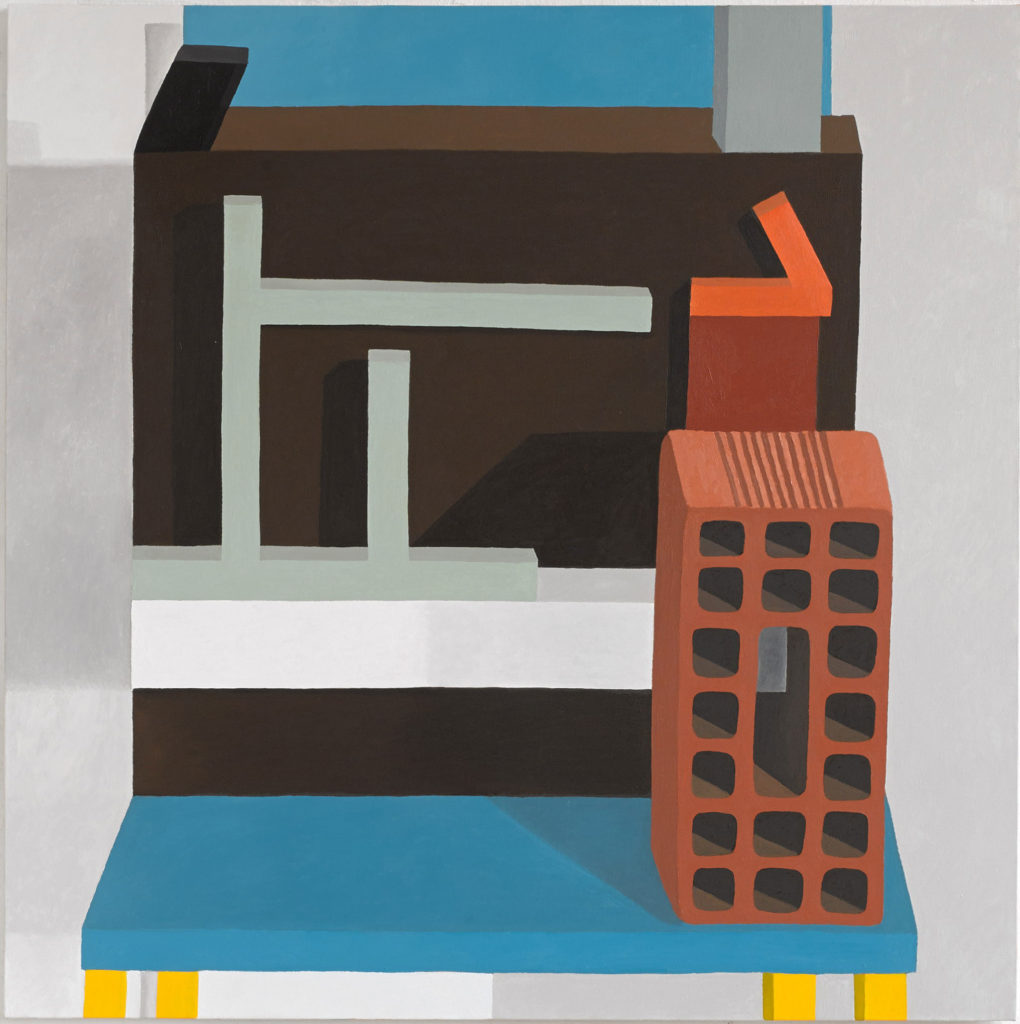 painting of everyday blocky objects on chair