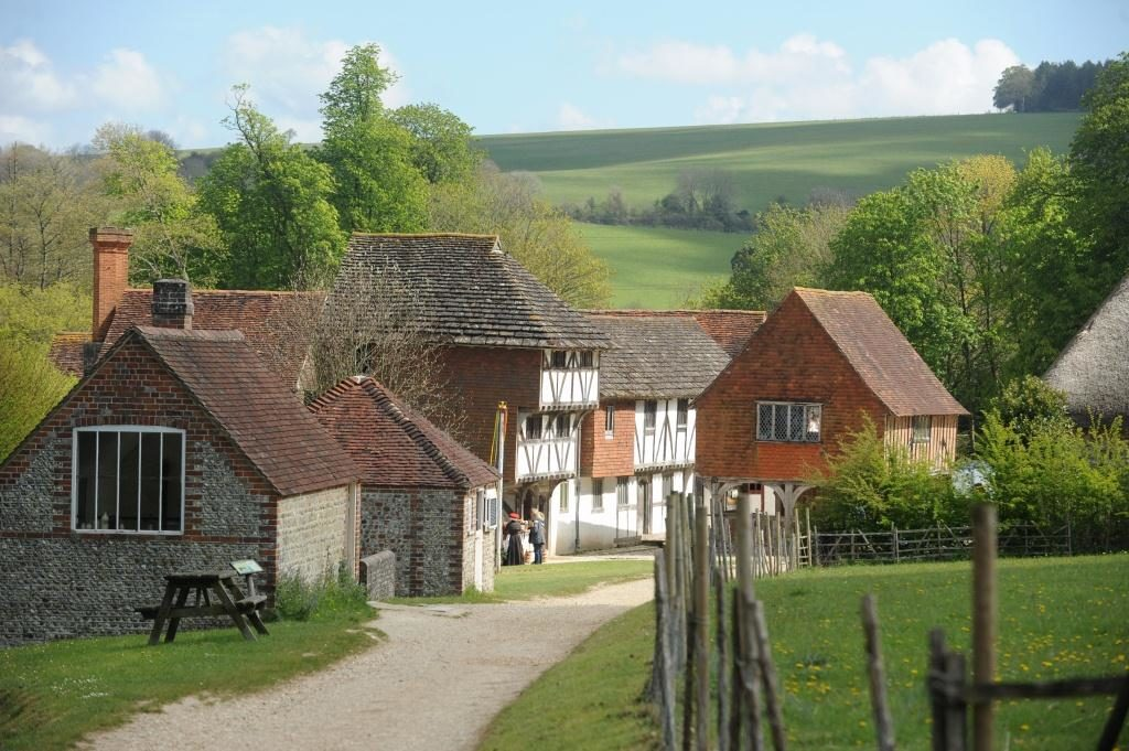 photograph of some of the historic buildings at weald and downland museum