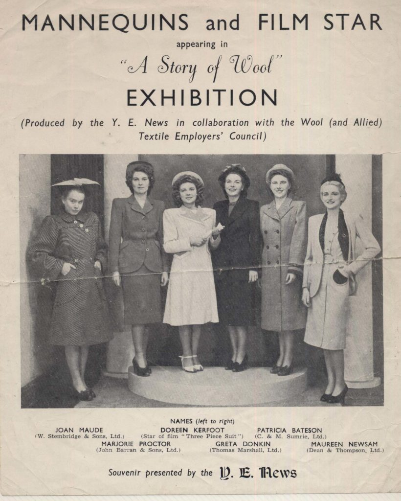 a programme for a wool exhibition with a group picture of six women in tailored suits
