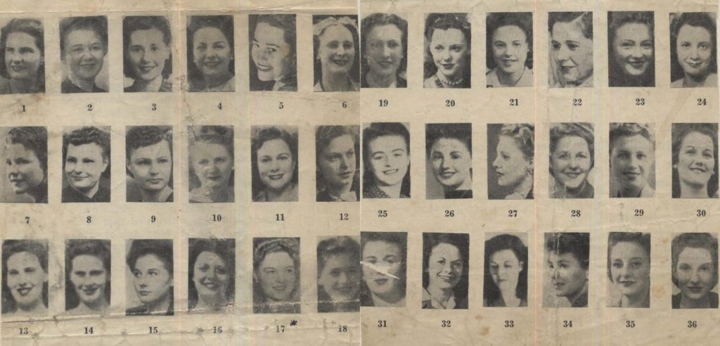 a page from a period newspaper showing a series of portraits of women