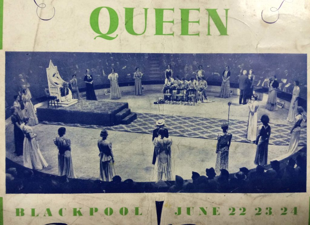 a detail of a programme featuring a crowning ceremony for a beauty pageant