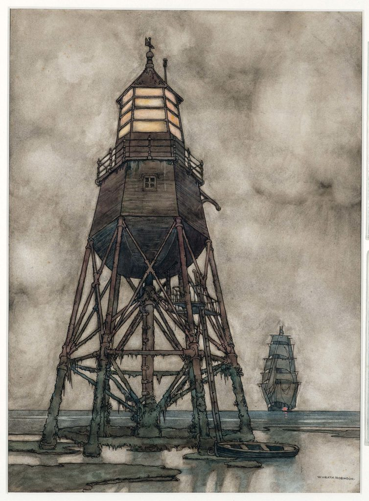 a photo of a woodern lighthouse with a sailed ship in the distance