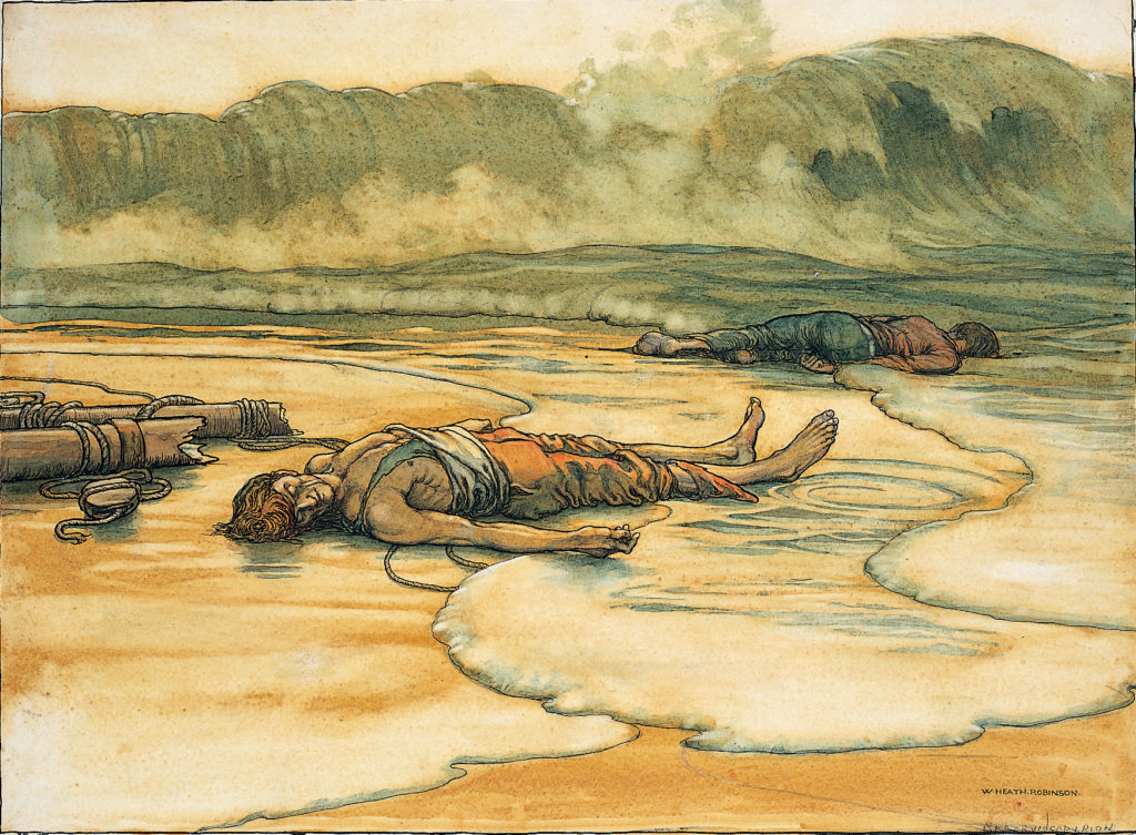 a drawing of dead people laying on a shoreline