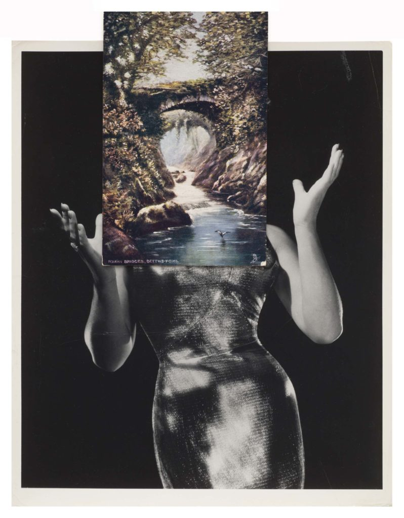 a photo of a woman with a superimposed postcard over it