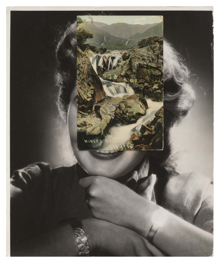 a collage photo with a coloursied landscape postcard placed over a portrait of woman