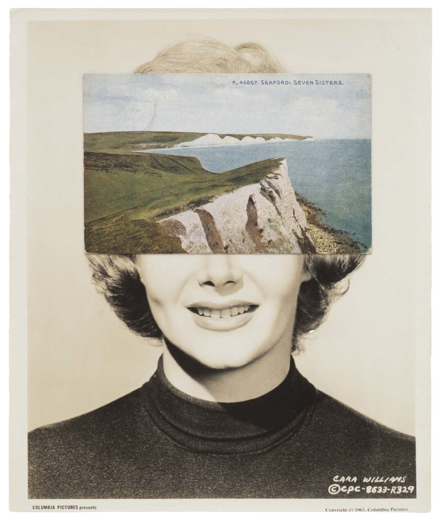 a collage made of a photo of a woman with a ppostcard image of Beachy Head stuck over her face