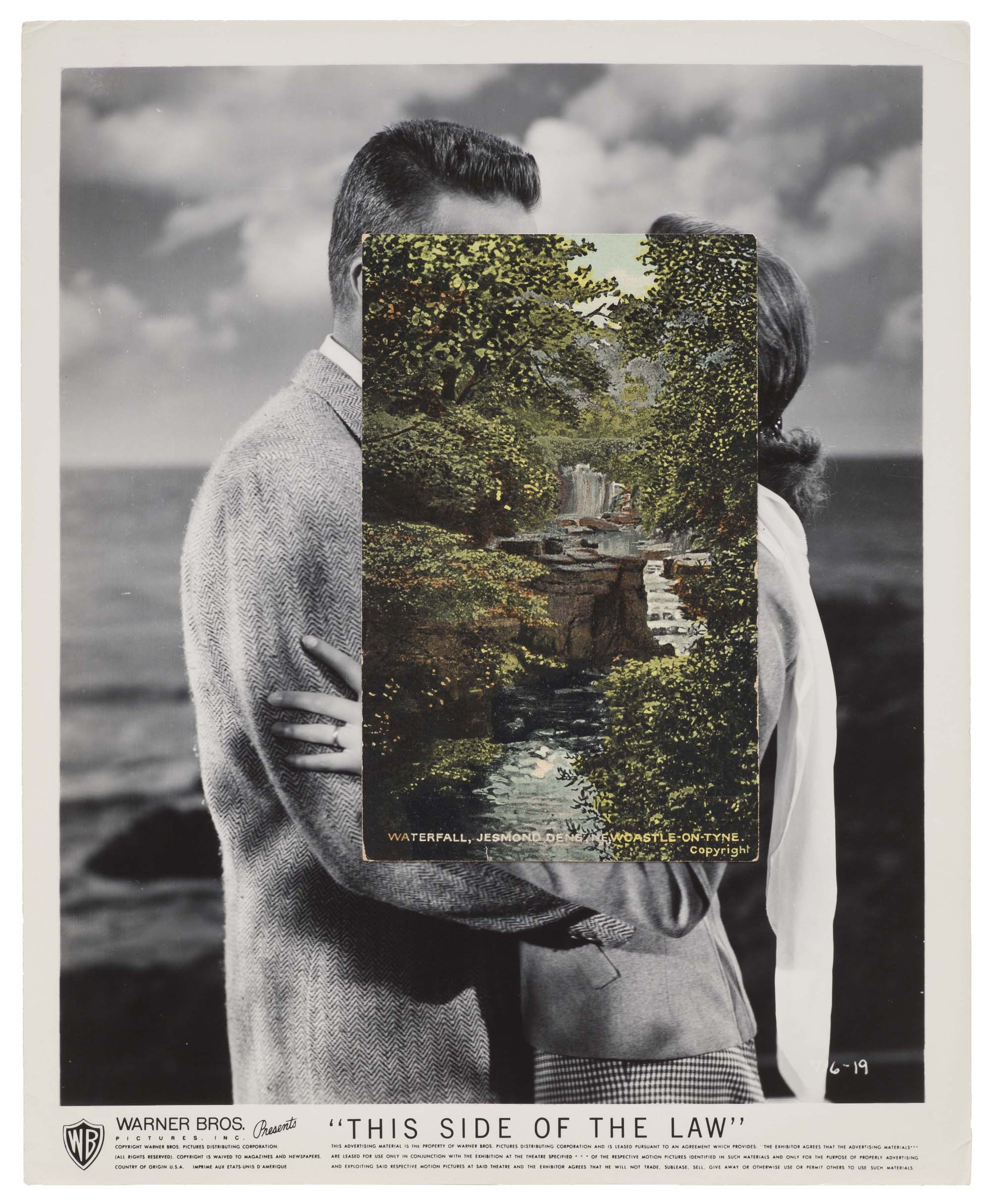 an old movie photo of a couple embracing with a colourised landscape photo overlaid in the middle