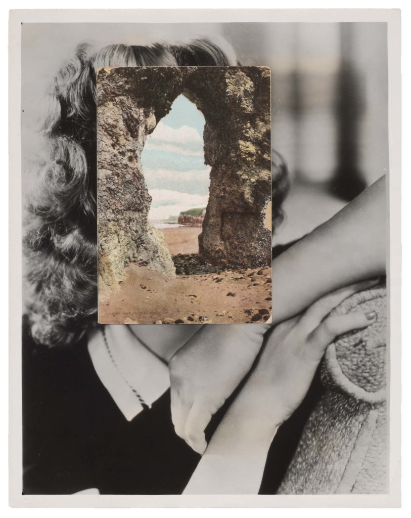 a portrait photo of woman with a postcard showing the opening in a rocks stack superimposed over her face