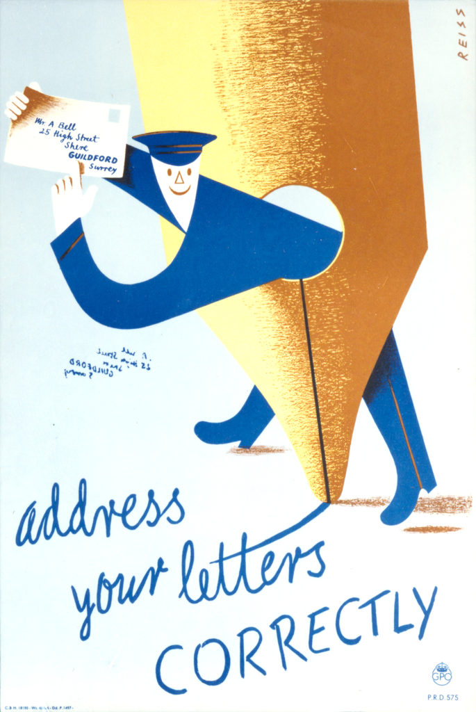 poster showing illustration of postman leaning through the hole in a pen nib, holding a correctly addressed letter. reading 'address your letters correctly'