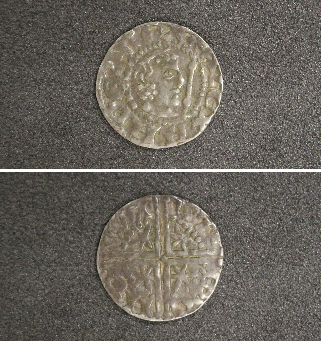 composite photo showing the front an back of an old coin with a kings profile