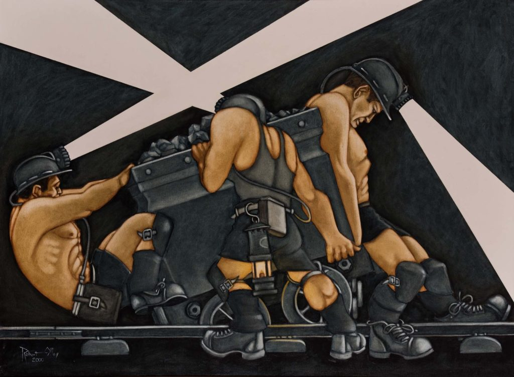 a painting of thee bares chested and mucualr men pushing a pice of machinery on rail tracks