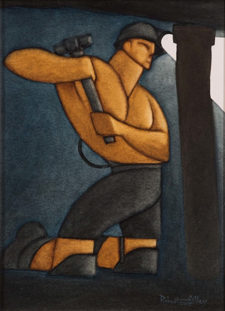a painting of muscled and bare chested miner wielding a mallet on a prop