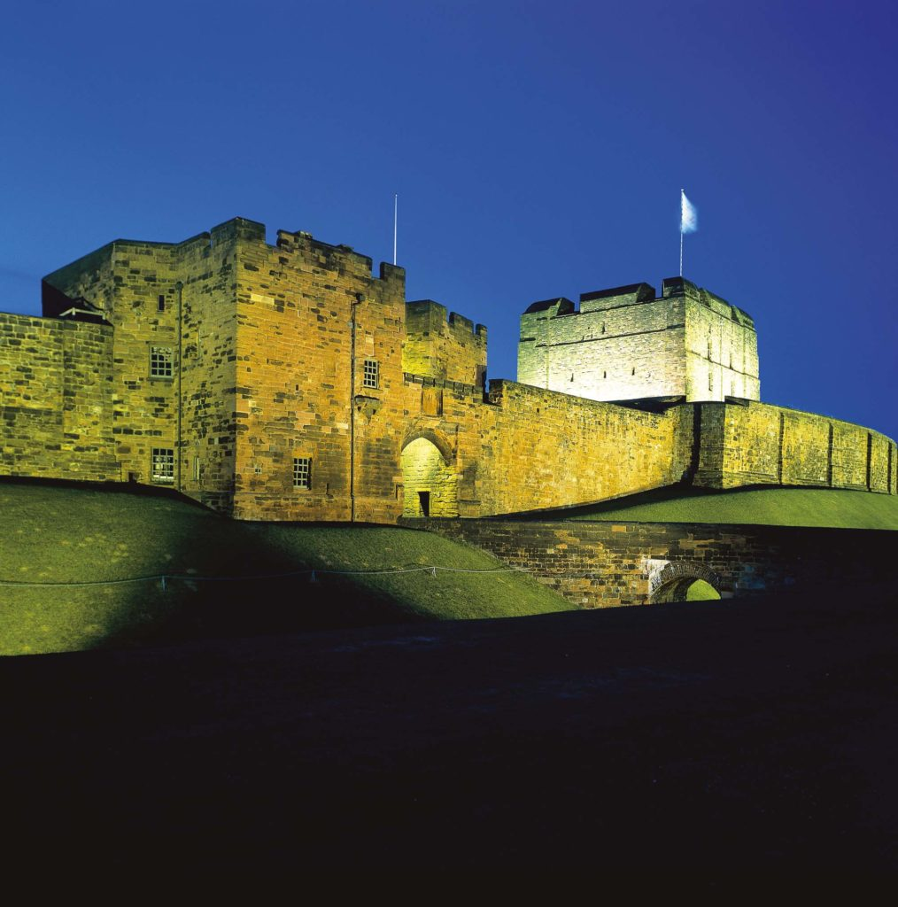 photograph of exterior of castle against night sky