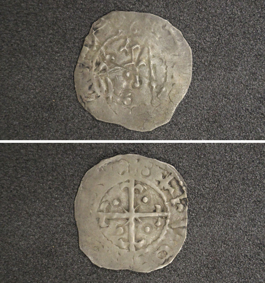 a composite photo showing the front and back of an old coin with a cross and flower motif