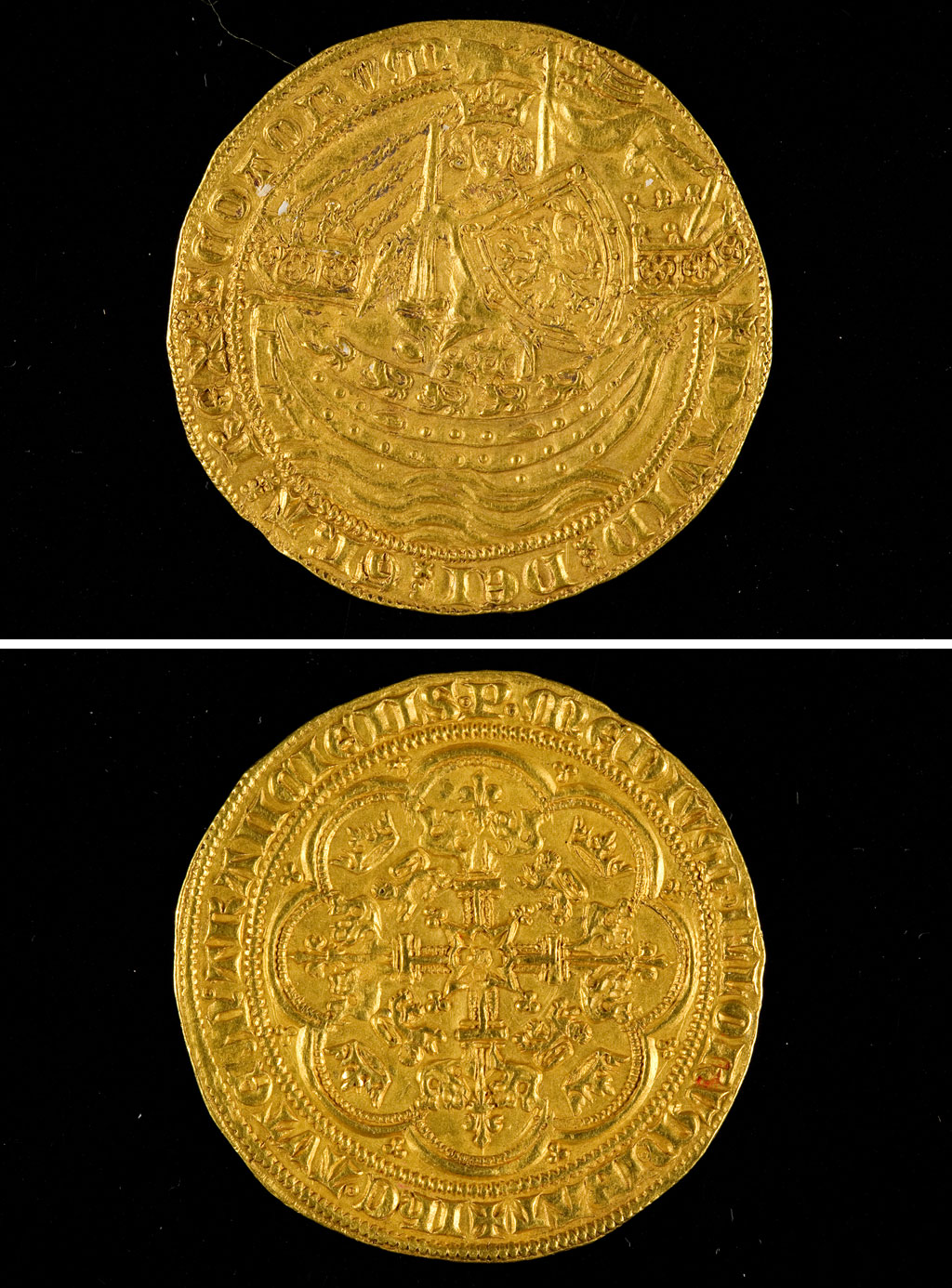 a composite photo showing the front and back of an old coin