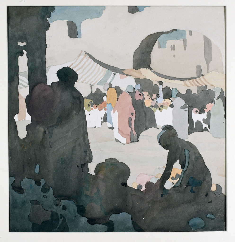 a watercolour of shadowed figures in the foreground and a sunlit bazaar in the distance