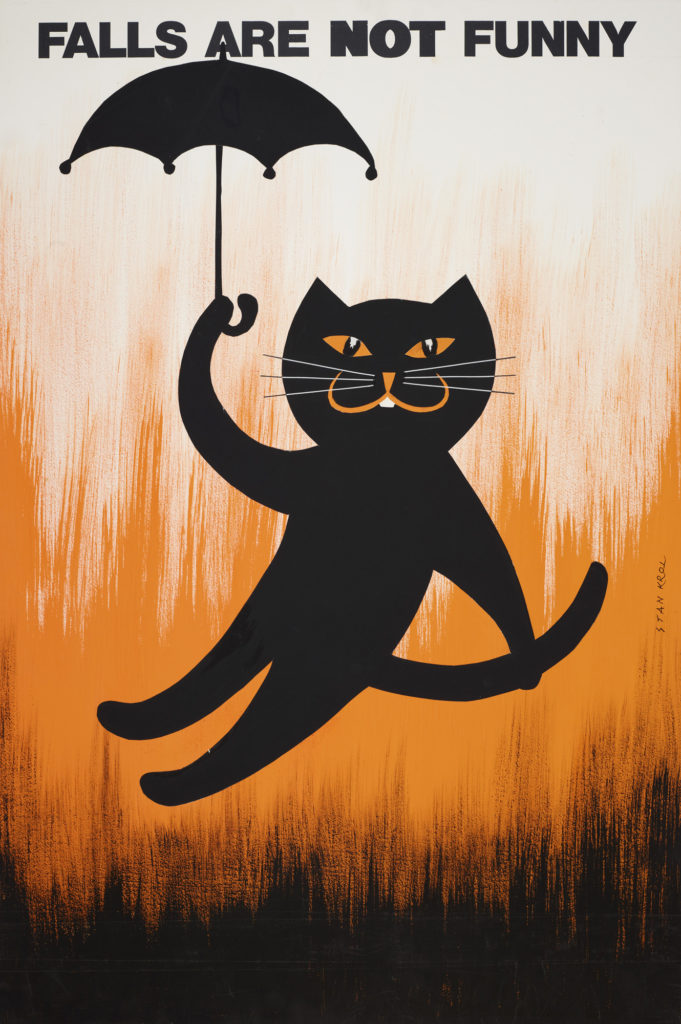 poster showing illustration of black cat holding an umbrella falling in front of an orange, white and black background. reading 'falls are not funny'