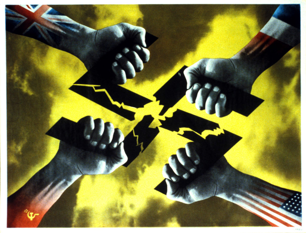 poster showing four hands, each with a different nations' flag, pulling apart a black swastika against a yellow sky