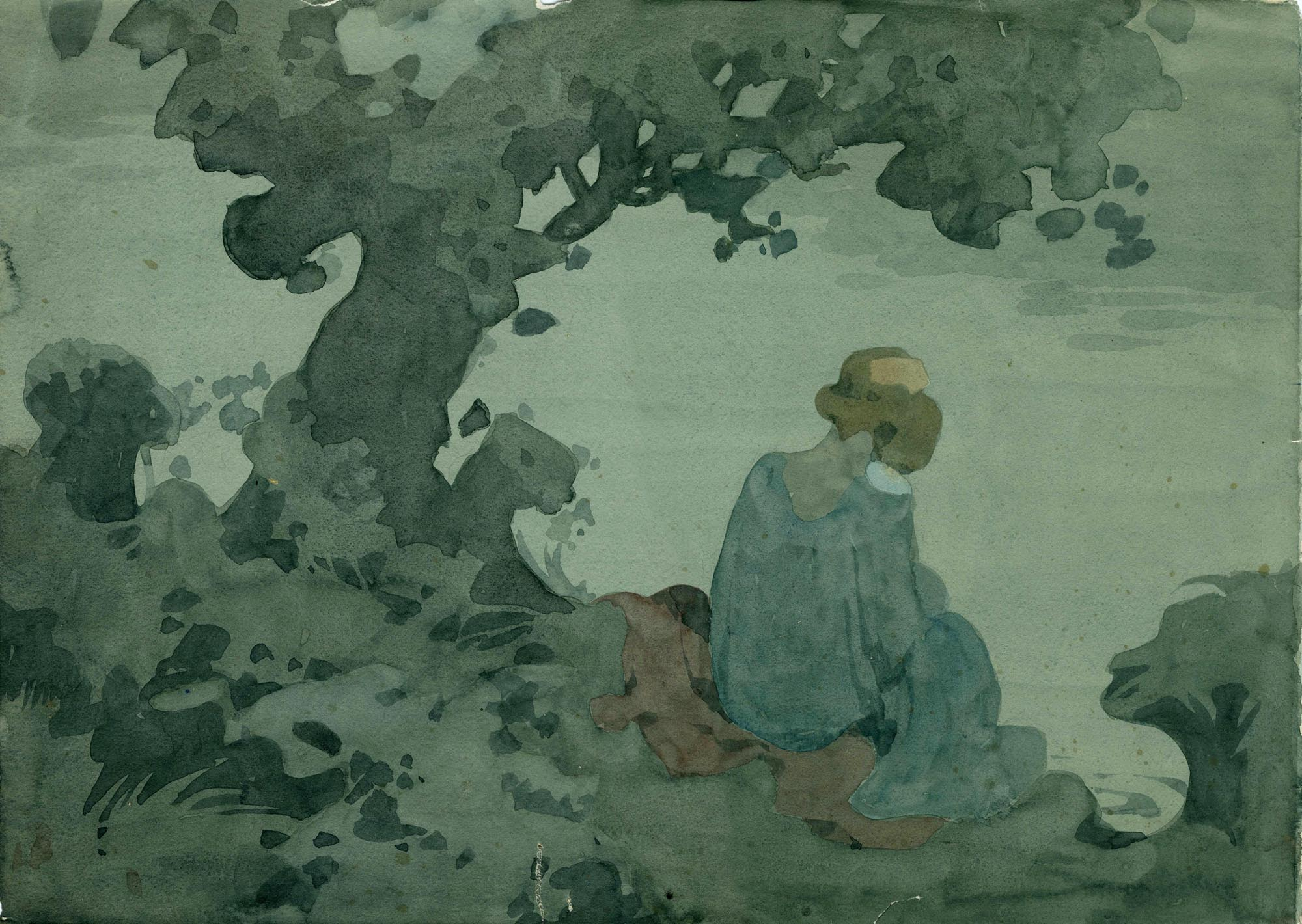 a delicate green tinged watercolour of a girl in flowing dress seated on river bank under tree.