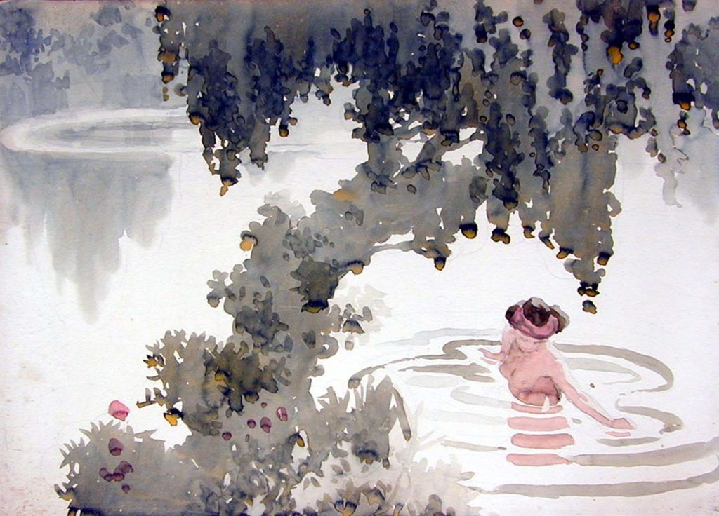 a watercolour of a naked girl swimming in a lake under tree.