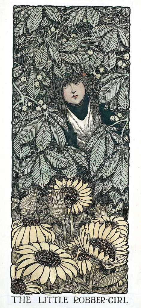 an illustration of the face of a young girl peering through an undergrowth of leaves and flowers
