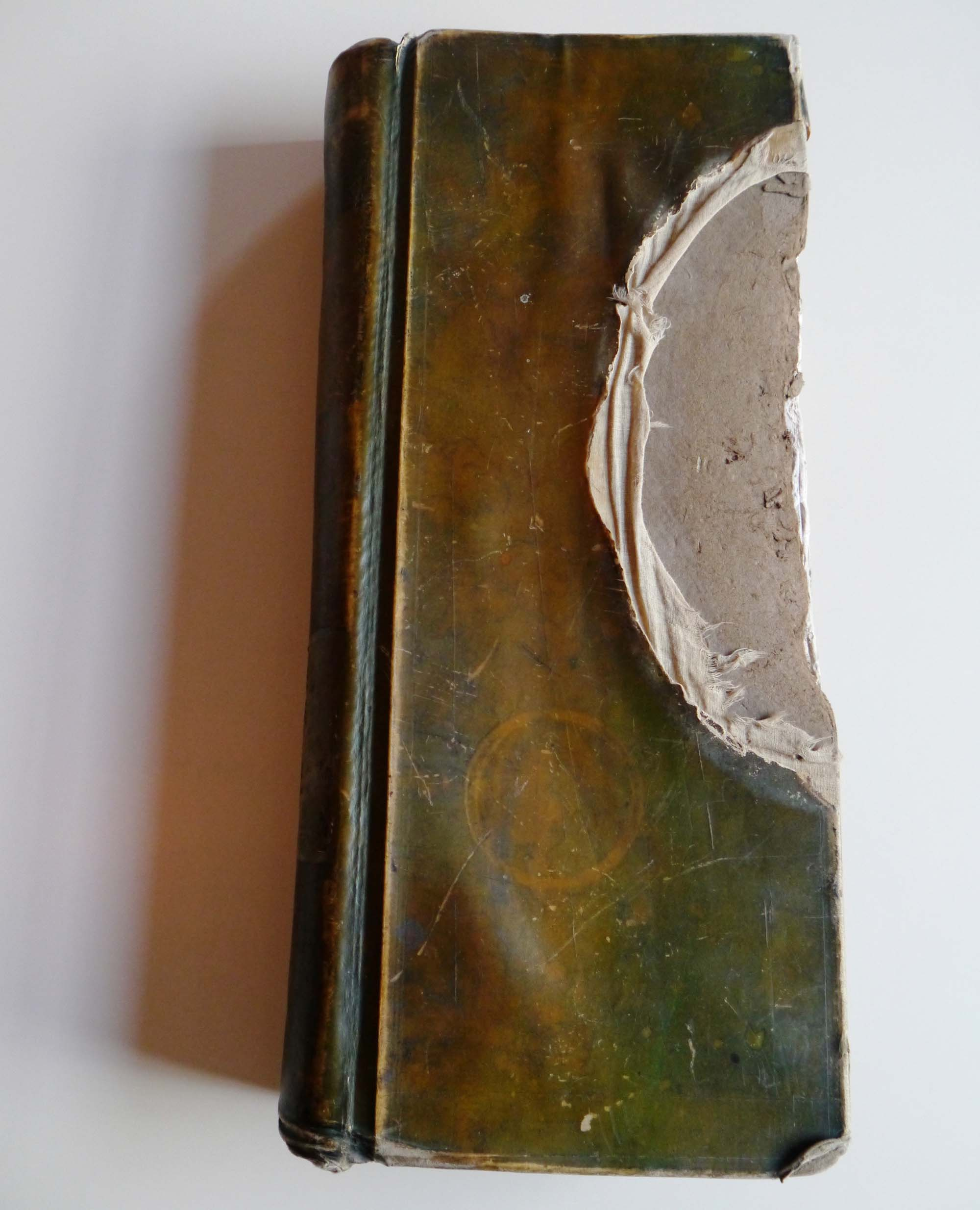 a photo of a large long slim leather bound book with a chunk taken out of its cover