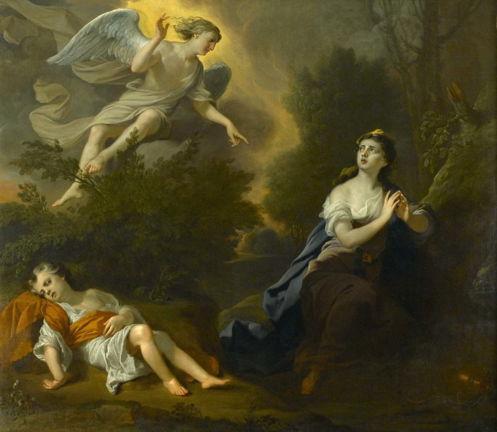 an allegorical painting in which an angel appears before a woman with a prone child next to her
