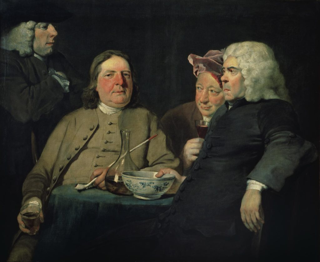 a painting of four portly Georgian gentleme with clay pipes and glasses of port