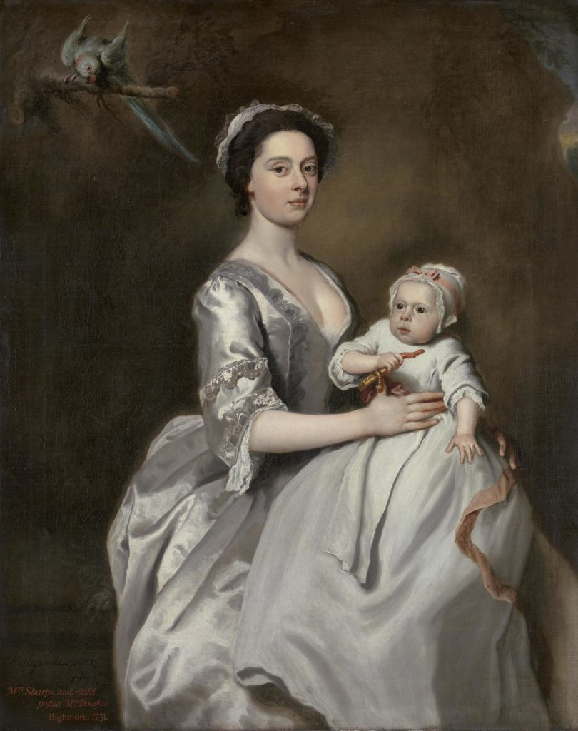 a painting of a Georgian lady holding a baby