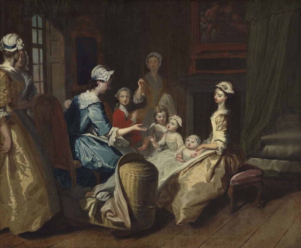 a painting of a Georgian interior domestic scene with a young woman reading to a group of children