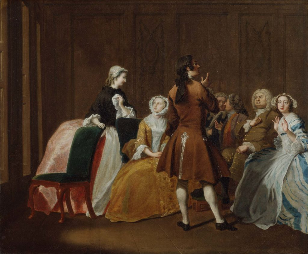 a painting of a well to do Georgain family in their drawing room gathered around a table