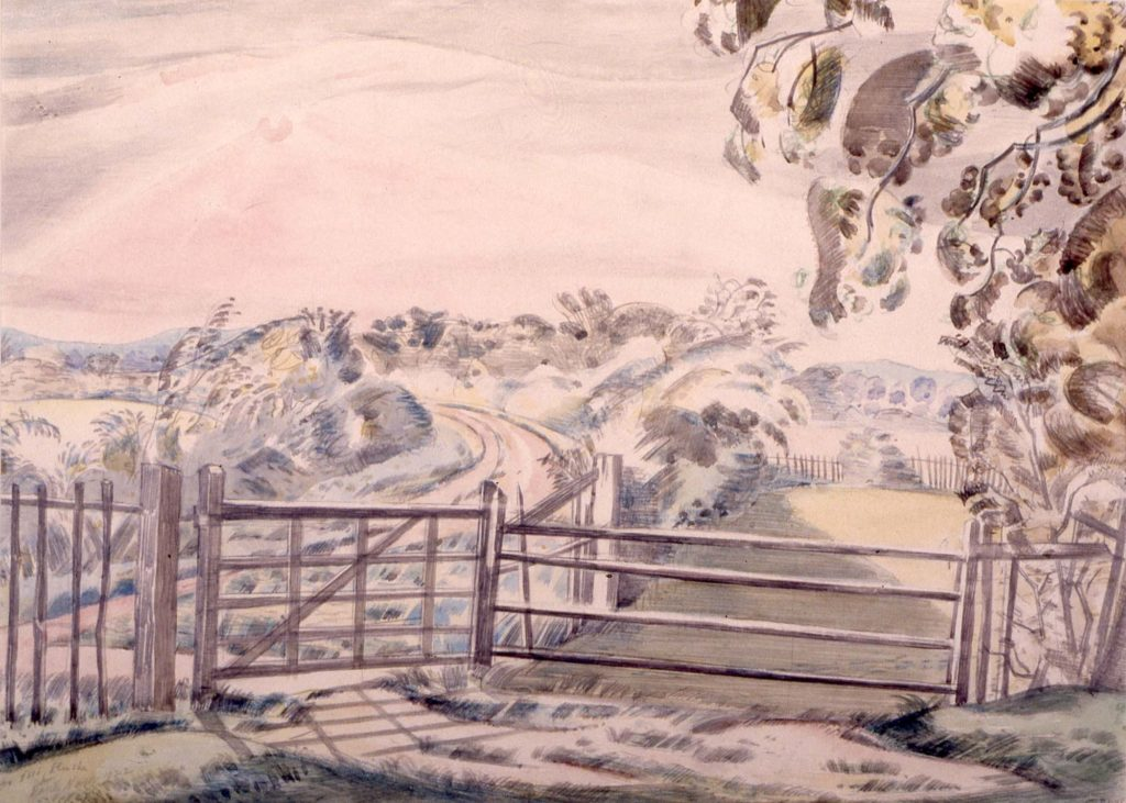 a painting of a landscape looking out across a gate and fence in the foreground